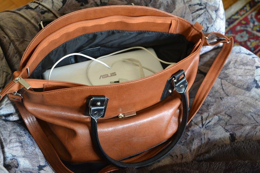 Hand Bag with laptop and electronics