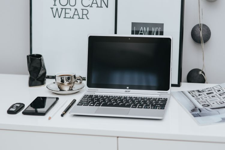 Laptop in a home office