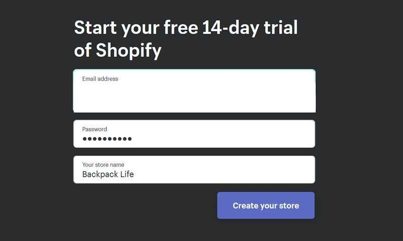 Start your free 14 day trial of shopify