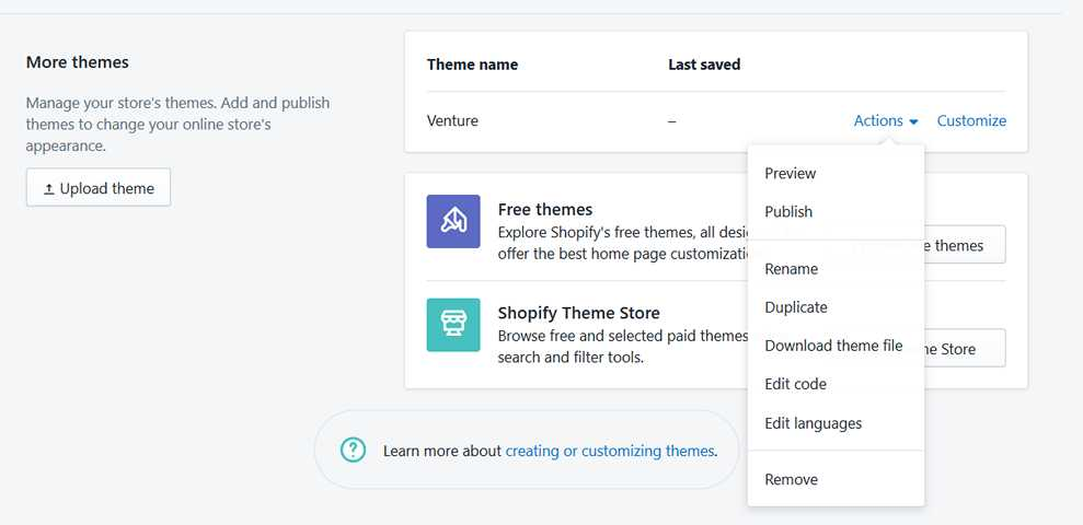 Theme options in shopify store