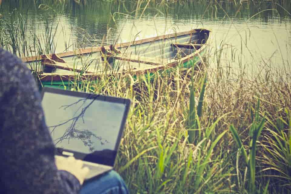 Laptop at a lake - workation