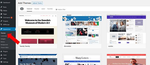 Start a blog - Themes